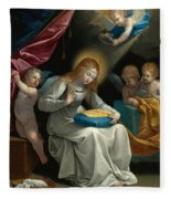 The Virgin Sewing Accompanied By Four Angels. La Couseuse Fleece Blanket