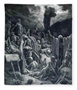 The Vision Of The Valley Of Dry Bones 1866 Fleece Blanket