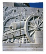 The Vittorio Emanuele Monument Marble Relief Of A Canon Standards Rome Italy Fleece Blanket