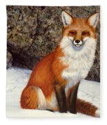 The Wait Red Fox Fleece Blanket