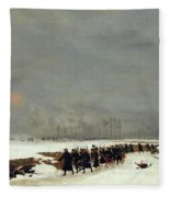 The War Of 1870 An Infantry Column On Their Way To A Raid Fleece Blanket