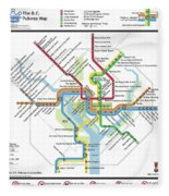The Washington, D. C. Pubway Map Fleece Blanket