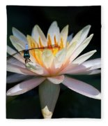 The Water Lily And The Dragonfly Fleece Blanket