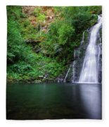The Waterfall And Large Pool Of Vieiros Fleece Blanket