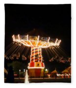 The Wave Swinger Ride Navy Pier Chicago Fleece Blanket