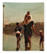 The Way From The Village. Time Of Inundation. Egypt Fleece Blanket