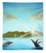 The Whales Of Maui Fleece Blanket