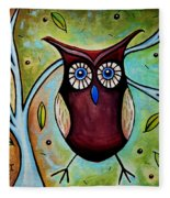 The Whimsical Owl Fleece Blanket