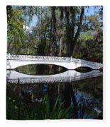 The White Bridge In Magnolia Gardens Charleston Fleece Blanket