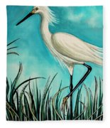 The White Egret Fleece Blanket