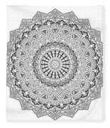 The White Mandala No. 3 Fleece Blanket