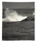 The Wild Pacific In Black And White Fleece Blanket