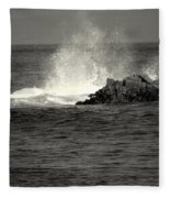 The Wild Pacific In Black And White Two Fleece Blanket