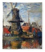 The Windmill Amsterdam Claude Monet 1874 Fleece Blanket