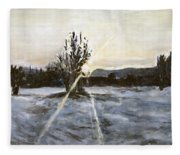 The Winter Sunset With A Bench Fleece Blanket