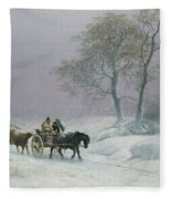 The Wintry Road To Market  Fleece Blanket