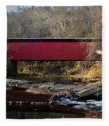 The Wissahickon Creek In Autumn - Thomas Mill Covered Bridge Fleece Blanket