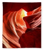 The Woman In The Canyon Fleece Blanket