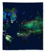 The World In Blues Fleece Blanket