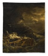 The Wreck Of The H.m.s. Deal Castle Off Puerto Rico During The Great Hurricane Of 1780 Fleece Blanket
