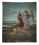 The Wrestle Of Jacob 1855 Fleece Blanket