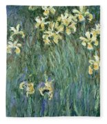 The Yellow Irises Fleece Blanket