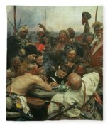The Zaporozhye Cossacks Writing A Letter To The Turkish Sultan Fleece Blanket