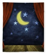Theater Stage With Red Curtains And Night Background  Fleece Blanket
