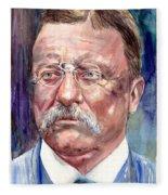 Theodore Roosevelt Watercolor Portrait Fleece Blanket