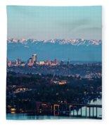 The_olympics_over_seattle Fleece Blanket