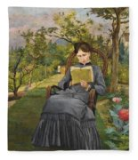 Therese Reading In The Park Of Meric Fleece Blanket