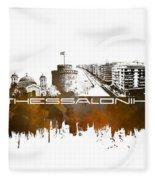 Thessaloniki Skyline City Brown Fleece Blanket