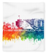 Thessaloniki Skyline City Color Fleece Blanket