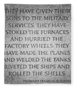 They Have Given Their Sons To The Military... - National World War II Memorial In Washington Dc Fleece Blanket