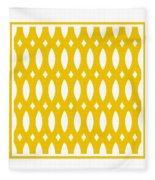 Thick Curved Trellis With Border In Mustard Fleece Blanket
