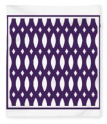 Thick Curved Trellis With Border In Purple Fleece Blanket