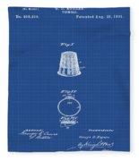 Thimble Patent 1891 In Blue Print Fleece Blanket