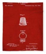 Thimble Patent 1891 In Red Fleece Blanket
