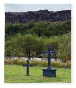 Thingvellir Church Cemetery, Iceland Fleece Blanket