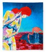 Thinking Woman Fleece Blanket