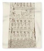 Third Side Of Obelisk, Illustration From Monuments Of Nineveh Fleece Blanket