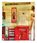 Thirst-quencher Old Coke Machine Fleece Blanket