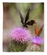 Thistle Pollinators - Large And Small Fleece Blanket