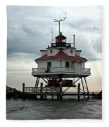 Thomas Point Shoal Lighthouse - Up Close Fleece Blanket