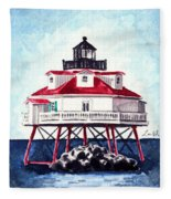 Thomas Point Shoal Lighthouse Annapolis Maryland Chesapeake Bay Light House Fleece Blanket