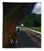 Thomaston Train At Night Fleece Blanket