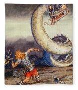 Thor Went Forth Against Jormungand Fleece Blanket