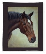 Thoroughbred Horse, Brown Bay Head Portrait Fleece Blanket