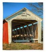 Thorpe Ford Covered Bridge Fleece Blanket