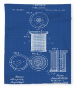Thread Spool Patent 1877 Blueprint Fleece Blanket